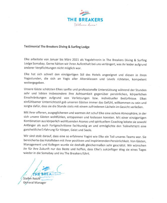 Testimonial von The Breakers Diving & Surfing Lodge